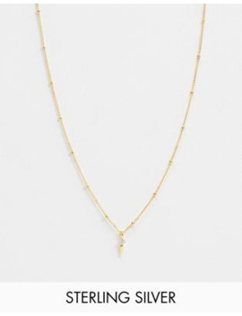 Astrid &Amp; Miyu Exclusive Sterling Silver 18 K Gold Plated Pendant Necklace On Satellite Chain by Astrid & Miyu