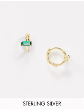 Astrid &Amp; Miyu Exclusive Sterling Silver 18 K Gold Plated Huggy Hoop Earrings With Emerald Green Stone by Astrid & Miyu