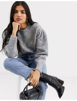&Amp; Other Stories Embellished Puff Sleeve Jumper In Grey by & Other Stories