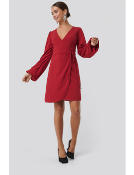 Overlap Balloon Sleeve Dress Red by Na Kd