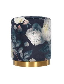 Tov Furniture Tov Oc6308 Opal Floral Velvet Ottoman With Gold Base   18 X 16 In. by Tov Furniture