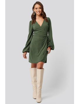 Overlap Balloon Sleeve Dress Green by Na Kd