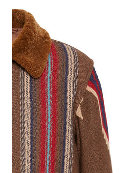 James Faux Fur Trimmed Wool Jacquard Jacket by Rrl
