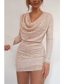 Fashion Influx Cream Sequin Long Sleeve Cowl Neck Mini Dress by In The Style