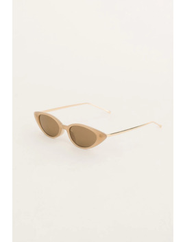 Gold Arm Cat Eye Sunglasses, Beige by Olive