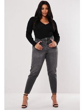 Plus Size Black Riot High Waisted Mom Jeans by Missguided