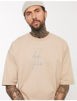 Asos Design Oversized Heavyweight T Shirt With Dark Future Logo In Reflective Print by Asos Design