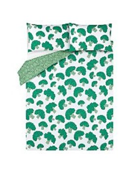 Broccoli Print Easy Care Reversible Duvet Set   Single by Asda