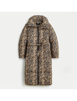 Leopard Long Belted Puffer Coat With Prima Loft® by Leopard Long Belted Puffer Coat With Prima Loft