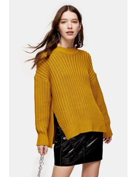 Chartreuse Split Side Fisherman Knitted Jumper by Topshop