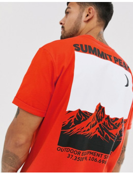 Asos Design Relaxed T Shirt With Roll Sleeve And Mountain Back Print by Asos Design