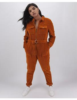 Ginger Stretch Cord Boilersuit by Simply Be