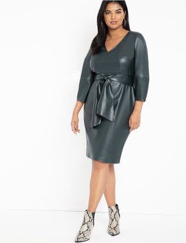 Lantern Sleeve Faux Leather Dress by Eloquii