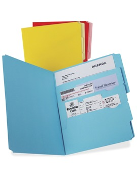 Pendaflex, Pfx10773, Divide It Up Multi Section File Folders, 12 / Pack, Blue,Red,Yellow by Pendaflex