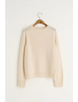 Seamless Crew Neck Wool Jumper, Ivory by Olive