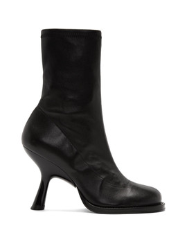 Black Stretch Boots Tee Heel Boots by Simon Miller