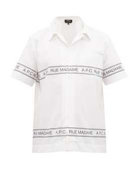 Logo Print Cotton Poplin Shirt by A.P.C.
