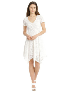 Vee Neck Lace Dress With Asymmetrical Hem by Piper