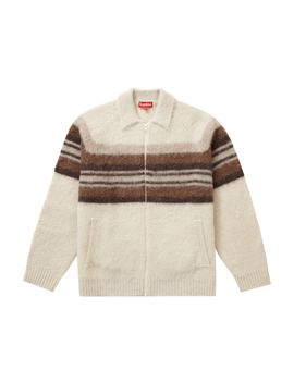 Supreme Brushed Wool Zip Up Sweater Cream by Stock X