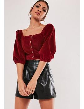 Red Micro Cord Puff Sleeve Crop Top by Missguided