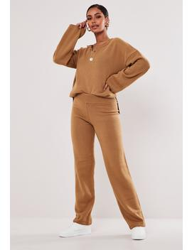Camel Co Ord Tapered Knitted Pants by Missguided