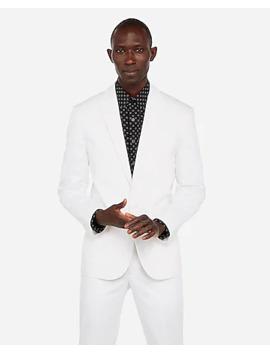 Slim White Performance Cotton Blend Stretch Blazer by Express