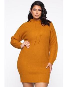 All In Sweater Dress   Mustard by Fashion Nova