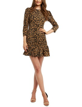 Ada Leopard Print Pleated Minidress by Bardot