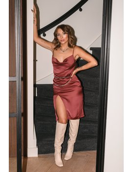 Satin Slit Dress Red by Niccihernestigxnakd