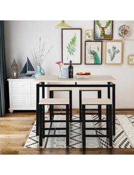Beige 5 Piece Dining Set Wood And Metal Pub Table With 4 Bar Stools by Harper & Bright Designs