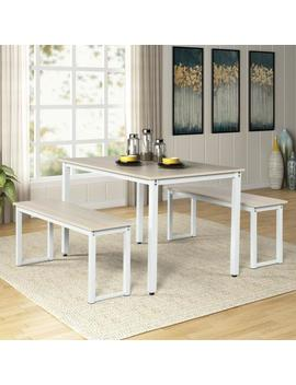 3 Piece Black Dining Table Set With 2 Benches by Harper & Bright Designs