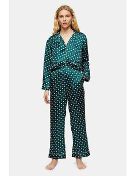 Green Tile Print Jacquard Pyjama Trousers by Topshop