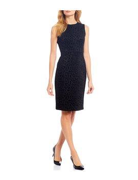 Flocked Scuba Tonal Leopard Print Sleeveless Sheath Dress by Calvin Klein