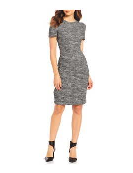 Tweed Short Sleeve Sheath Dress by Calvin Klein