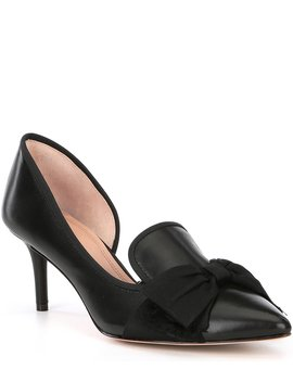 Cavielle Leather Bow Detail D'orsay Pumps by Ad & Daughters