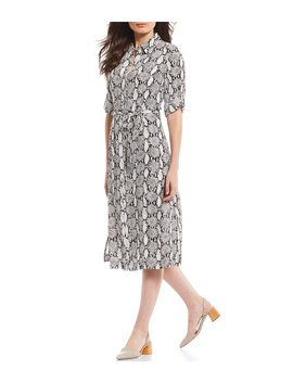 Snake Print Tie Waist Button Front Midi Shirt Dress by T Tahari