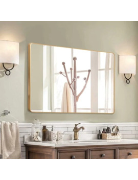 """Gold Round Corner Wall Mirror With Aluminum Alloy Thin Frame   38""""X 26"""" by Generic"""