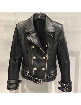 Genuine Leather Jacket Women Autumn Spring Zipper Belted Moto Jacket Streetwear Ladies' Real Lamb Sheep Leather Jackets Coat by Ali Express.Com