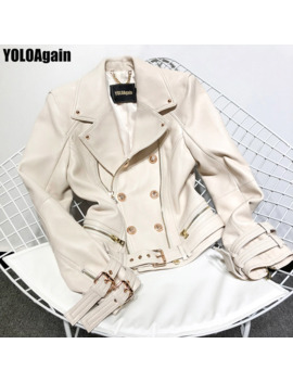 Yolo Again Women Genuine Leather Jacket Office Ladies Double Breasted Zipper Real Leather Jacket by Ali Express.Com