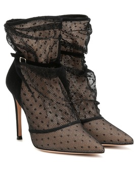 Polka Dot Lace Ankle Boots by Gianvito Rossi