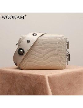 Woonam Women Handbag Top Hide Genuine Calf Leather Lizard Pattern Studs Small Zip Box Camera Shoulder Satchel Bag Wb868 by Ali Express.Com