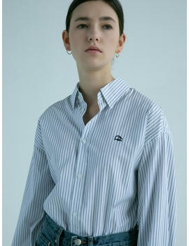 Over Fit Shirt Navy Stripe by Dunst For Women