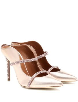 Maureen 100 Metallic Leather Mules by Malone Souliers