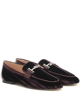 Double T Crushed Velvet Loafers by Tod's