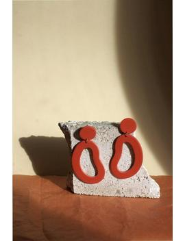 Organic Shape Large Statement Earrings / Abstract Earrings / Polymer Clay / Terracotta Red Brown by Etsy