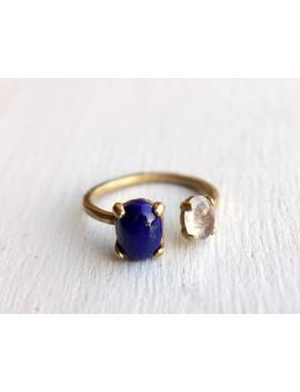 Lapis Lazuli And Moonstone Ring In Brass Dual Ring By Rachel Pfeffer by Etsy