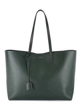 Dark Green Leather Tote by Saint Laurent