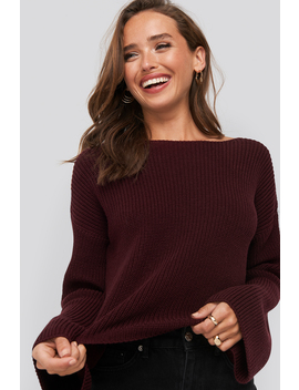 Cropped Long Sleeve Knitted Sweater Lila by Na Kd