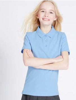 2 Pack Girls' Slim Fit Polo Shirts by Marks & Spencer