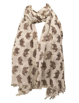 The Olive House® Womens Fair Trade Elephant Scarf Beige Brown by Ebay Seller